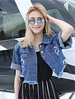 Women's Casual/Daily Simple Spring Denim Jacket,Solid Square Neck Short Sleeve Short Cotton