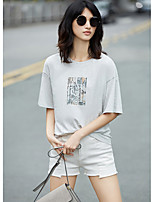 AMIIWomen's Daily Casual Simple T-shirtSolid Print Round Neck Short Sleeve Cotton