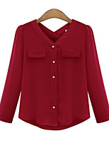 Women's Casual/Daily Simple Shirt,Solid V Neck Long Sleeve Cotton Thin