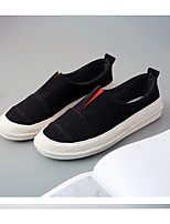 Для женщин Мокасины и Свитер Удобная обувь Полотно Дерматин Весна Повседневные Удобная обувь Белый Черный Серый Красный На плоской подошве