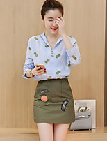 Women's Casual/Daily Work Beach Simple Shirt Skirt Suits,Striped Shirt Collar 3/4 Length Sleeve