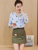 Damen Gestreift Einfach Lässig/Alltäglich Arbeit Strand Shirt Rock Anzüge Frühling