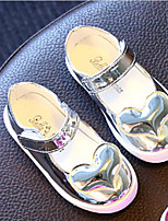 Girls' Flats First Walkers Leatherette Spring Fall Casual Walking First Walkers Magic Tape Low Heel Purple Silver Gold Flat