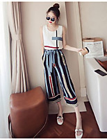 Women's Casual Date Casual Fashion Summer T-shirt Pant Suits,Geometric Color Block Round Neck Sleeveless