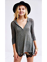 Women's Going out Casual/Daily Simple Long Cardigan,Solid V Neck Long Sleeve Acrylic Winter Medium Micro-elastic