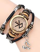 Men Premium Genuine Leather Watch Triple Bracelet Women Watch Swan Charm Wristwatch Fashion Para Femme