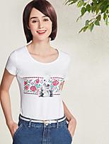 Tee-shirt Femme,Imprimé Quotidien Décontracté simple Manches Courtes Col Arrondi Coton