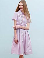 Ample Robe Femme Décontracté simple,Imprimé Col de Chemise Mi-long Manches Courtes Coton Eté Taille Haute Non Elastique Fin