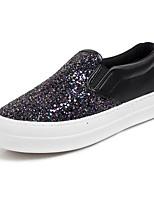 Для женщин Мокасины и Свитер Удобная обувь Лак Полотно Весна Повседневные Удобная обувь Черный Лиловый На плоской подошве