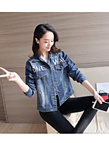 Women's Casual/Daily Vintage Spring Denim Jacket,Letter Solid Shirt Collar Long Sleeve Regular Cotton Embroidered