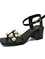 Women's Heels PU Spring Summer Fall Imitation Pearl Chunky Heel White Black Blushing Pink 1in-1 3/4in