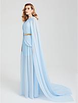 TS Couture Evento Formal Vestido - Chal Incluido Estilo de Celebridad Funda / Columna Cuello Barco Larga Raso conCuentas Cinta / Lazo