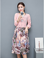 Women's Daily Casual Sophisticated Spring Fall T-shirt Skirt Suits,Floral Round Neck Long Sleeve Micro-elastic