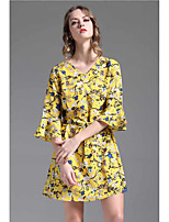 UNE FLEURWomen's Casual/Daily A Line DressFloral V Neck Above Knee  Sleeve Cotton Linen Summer High Rise Micro-elastic Thin