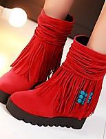 Women's Boots PU Spring Fall Black Beige Ruby Flat