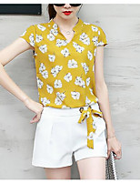 Women's Casual/Daily Simple Summer Blouse Pant Suits,Print Stand Short Sleeve