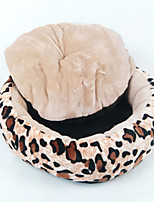 Dog Bed Pet Baskets Leopard Keep Warm Soft Durable Coffee Black