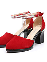 Women's Heels Formal Shoes Comfort Leather Spring Fall Casual Office & Career Formal Shoes Comfort Chunky Heel Ruby Gray Black 5in & over
