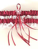 Garter Polyester Flower Lace Red