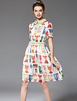 Dámské Vintage Jednoduché Šik ven Jdeme ven Běžné/Denní Velké velikosti A Line Šifón Swing Šaty Květinový,Krátký rukáv Košilový límec
