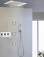Bathroom Shower Faucet Contemporary LED / Rain Shower Head / Sidespray / Hand Shower Included / Brass Chrome