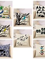 Set Of 8 Classic Cotton/Linen Pillow Cover Birds Pattern Pillow Case 45*45Cm Sofa Cushion Cover