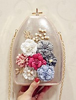 Women Evening Bag PU All Seasons Event/Party House Shaped Flower Magnetic Silver Black Gold