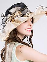 Women's Tulle Netting Bucket Hat Floppy Hat Sun Hat,Hat Flower Striped Spring/Fall Summer Stripe