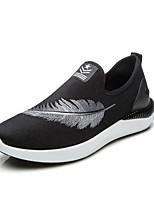 Для мужчин Мокасины и Свитер Удобная обувь Ткань Весна Осень Повседневный Для прогулок На плоской подошве Черный Светло-серыйНа плоской