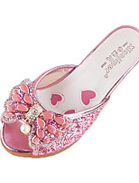 Girls' Sandals Comfort Leatherette Spring Fall Outdoor Casual Walking Magic Tape Low Heel Blushing Pink Silver Flat