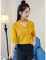Women's Casual/Daily Simple Blouse,Solid V Neck 3/4 Length Sleeve Polyester