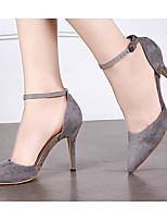 Damen Sandalen Komfort PU Frühling Normal Komfort Schwarz Grau Hautfarben Flach