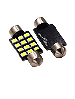 1W White DC12V 42MM Festoon 12SMD 2835 Dome Light Rreading Light License Plate Light 2PCS