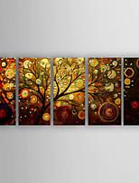 Pintados à mão Abstrato Horizontal,Moderno/Contemporâneo Nova chegada 5 Painéis Tela Pintura a Óleo For Decoração para casa