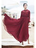 Balançoire Robe Femme Décontracté / QuotidienCouleur Pleine Col en V Maxi Manches Longues Lin Eté Taille Haute Non Elastique Fin