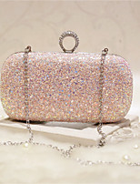 Women Evening Bag PU All Seasons Event/Party Party & Evening Club Baguette Push Lock Blushing Pink White Gold Pool