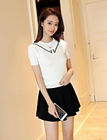 Women's Going out Casual/Daily Simple Regular Cardigan,Solid Round Neck Short Sleeve Others Summer Medium Micro-elastic
