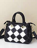 Women Tote Cowhide All Seasons Casual Baguette Plaid Zipper Black/White Rainbow Black