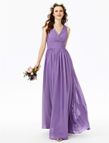 LAN TING BRIDE Longo Decote V Vestido de Madrinha - Elegante Transparente Sem Mangas Chiffon Renda