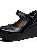 Women's Heels Basic Pump Leather Spring Fall Office & Career Basic Pump Wedge Heel Black 3in-3 3/4in