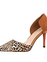Women's Heels Leatherette Spring Summer Fall Stiletto Heel Gray Brown Ruby Blushing Pink Khaki 4in-4 3/4in