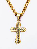24K Gold Plated Men's Rhinestones Cross Pendant Necklaces