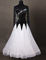 Ballroom Dance Dresses Women's Performance Chinlon Applique Paillettes Splicing 1 Piece Long Sleeve High Dresses