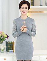 Women's Casual/Daily Regular Pullover,Solid Round Neck Long Sleeve Silk Spring Summer Thin Micro-elastic