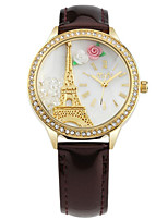 Women's Fashion Watch Quartz Leather Band White Brown Pink