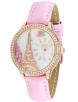 Women's Fashion Watch Quartz Leather Band White Gold Pink