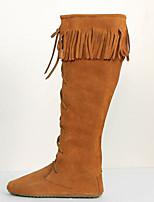 Для женщин Ботинки Удобная обувь Замша Весна Повседневные Удобная обувь Черный Коричневый Темно-коричневый На плоской подошве