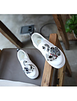 Girls' Flats First Walkers Leatherette Spring Fall Outdoor Casual Walking Magic Tape Low Heel Black White Flat