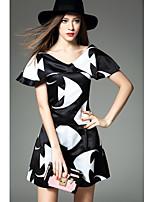 Chemise Pantalon Costumes Femme,Motif Animal Sortie Décontracté / Quotidien simple Printemps Eté Manches Courtes Col en V