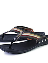 Men's Slippers & Flip-Flops Comfort Cowhide Spring Casual Comfort Brown Black White Flat